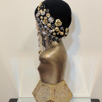 High Fashion Golden Charm Beret, Embellished Beret, Rhinestone Beret, Bling Hat, Embellished Hat