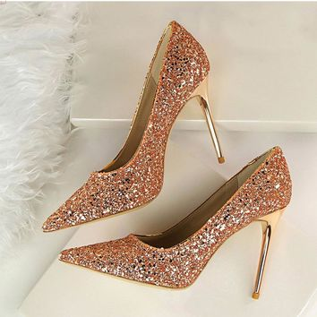 Women Pumps Sexy Wedding Shoes Women Heels Valentine Bling High Heels  Shoes Female Gold Silver Red Stiletto Bridal Shoes 9.5cm