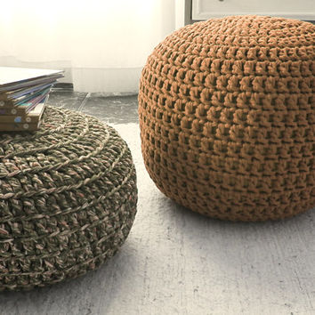 Brown Ottoman Pouf - Brown Nursery Footstool Pouf - Brown Crochet Floor Cushions Pouf  - Eco friendly Housewares