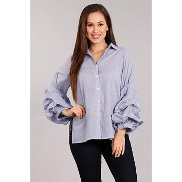 Striped Top with Long Puff Sleeves - Blue