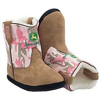 Montana Silversmiths® Cowboy Kickers™ Adult John Deere Brown w/ Pink Camo Cowboy Boot Slippers