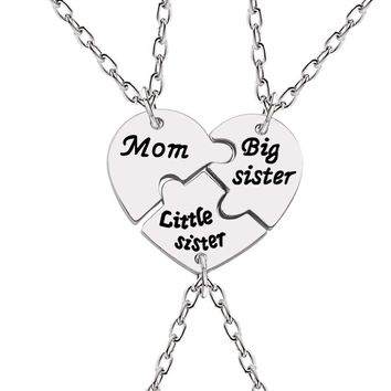 3pcs Mom Sister Pendant Necklace For Women Broken Heart Puzzle Necklaces Best Friends Sisters Family Female Jewelry Gifts Collar
