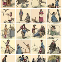 digital download collage sheet victorian men women children working playing clip art 2 inch squares graphics images printables diy crafts