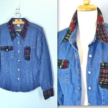 Vintage 90s Denim Shirt / Cropped Blouse / Corduroy Trimmed Denim Top