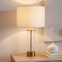 ACRYLIC COLUMN TABLE LAMP + USB - ANTIQUE BRASS