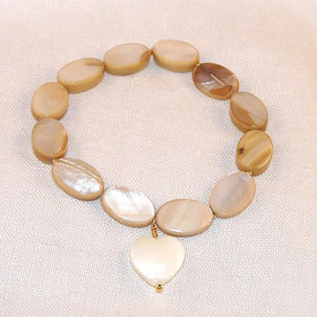 Stacking Stretchy Bracelet, Mother of Pearl, oval beads, gold spacer beads, heart charm, Jewellery Elastic