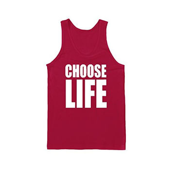 CHOOSE LIFE 80S GEORGE MICHEALFUNNY SLOGAN Funny Gift Fashion VEST TANK TOP - Red