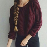 Women Sweaters and Pullovers Long Sleeve Casual Sweater slim solid knitted jumpers