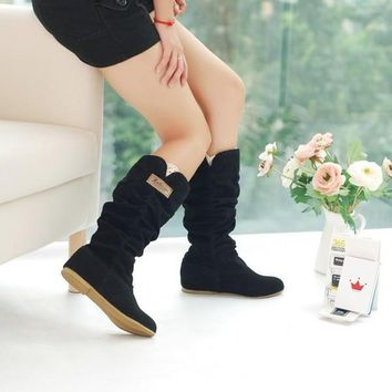 Fashion Womens Autumn/Winter Inner Wedges Flat Heel Mid-Calf Suede Leather Boots = 193