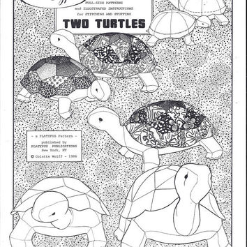 Platypus Pattern for 2 Stuffed Turtles, by Colette Wolff, From 1986, 11 & 9 Inch Long Turtles, Vintage Pattern, Animal Pattern, Home Sewing