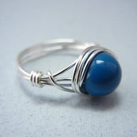 Silver Wire Ring - Wire Wrapped Ring - Lapis Pearl Ring