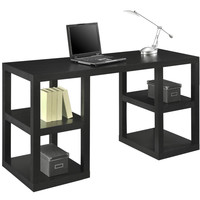 Delux Black Oak Desk with Built-in Shelving
