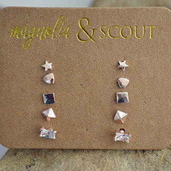 Rose Gold & Gold TINY small Stud Earrings SET OF 5 / Very Teeny Tiny Stud Earrings Set / Star, Triangle, Square, Pyramid, Diamond Rectangle