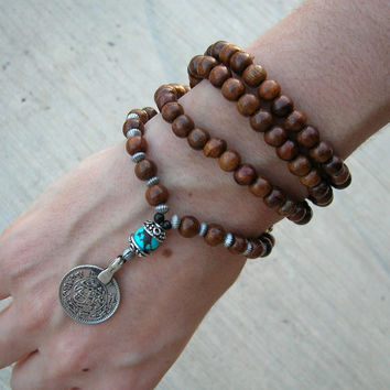 108 Wood prayer beads and turquoise gemstone with vintage coin pendant, wrap bracelet or necklace