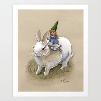 Lady Gnome and Rabbit Art Print by Christina Siravo