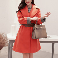 Orange Long Sleeve Woolen Coat