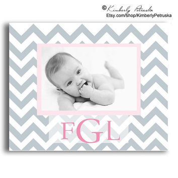 Personalized Girls' Name Plaque, Pink & Grey Chevron, Photo Plaque , Monogrammed gifts, Baby gift, Modern Nursery, Personalized Girls' Decor