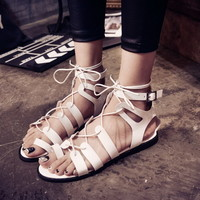 Womens Ring Toe Thong Strappy Cut Out Gladiators Sandals Buckle Lace Up Shoes