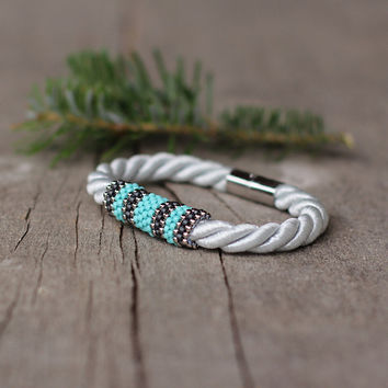 White silver turquoise gray rope bracelet - magnetic closure - contemporary jewelry - gift under 15 - gift for girlfriend