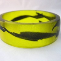 Black lightning bolt in yellow wide resin bracelet by TopazTurtle