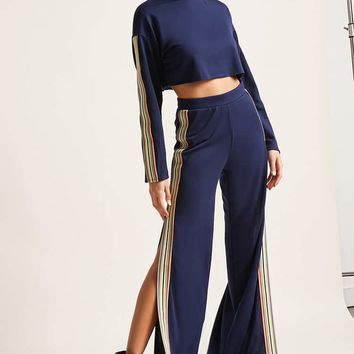 Striped Split Leg Pants