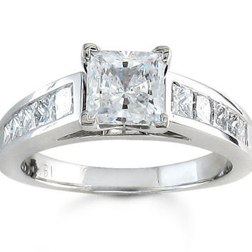Ladies 14kt white gold cathedral engagement ring with Princess cut channel diamonds 0.70 ctw G-VS2 quality and 1.50ct White Sapphire ctr
