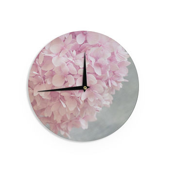 "Suzanne Harford ""Pastel Pink Hydrangea Flowers"" Pink Floral Wall Clock"