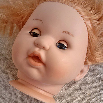 Vintage head plastic doll, parts doll, assemblage, Craft Supplies Tools, Doll, Toy, Children, Game, play, Art, Home decor, Supplies, pretend