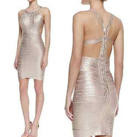 Celebrity Sexy bandage dress cocktail evening party sleeveless Foil Pink XS-L