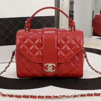 Chanel Women Shopping Leather Metal Chain Crossbody Satchel Shoulder Bag red H-3A-XNRSSNB