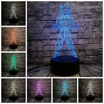 Dragon Ball Super Saiyan Goku 3D Colorful LED Lamp