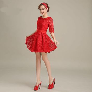 Red Lace Cocktail Dresses Half Sleeves Mini Short Prom Party Dress