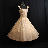 Vintage 1950's 50s Bombshell Beaded Sequins Rhinestones Gold Taffeta Party PROM Wedding DRESS Gown