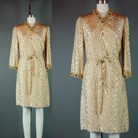 "Vintage 60s Gold Lame Dress 1960s Jeweled Cocktail Party Short Metallic Lurex B 38""  W 36"""