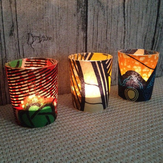 Wedding d cor votive candle party from chillipeppa on etsy for African party decoration ideas