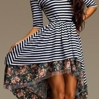 Multi-color Striped and Floral Print Asymmetrical Dress