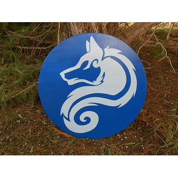 Arctic Wolf Wooden Shield - Bright Blue and Ice Blue - Painted, Stained, Sealed - Cosplay, Decor