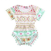 Summer Infant Baby Girl Floral Geometric Romper Tassel Short Sleeve Jumpsuit Outfits Sun-suit Clothes