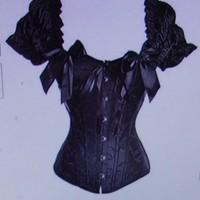 Quinying Ruched Sleeves Overbust Steel Boned Cinching Corset