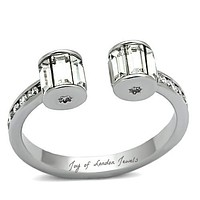 2TCW Channel Russian Lab Diamond Engagement Ring