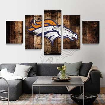 Denver Broncos Wood Look Five Piece Canvas