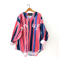Vintage striped shirt. ENUF baseball jersey shirt. Colorful button down shirt. Oversized shirt.