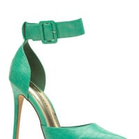 Light Green Faux Snake Skin Pointy Ankle Strap Heels