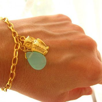 Gold Coated Owl Bracelet for Good Luck | Missglory - Jewelry on ArtFire