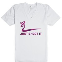 Just Shoot It Pink (V-neck)-Unisex White T-Shirt