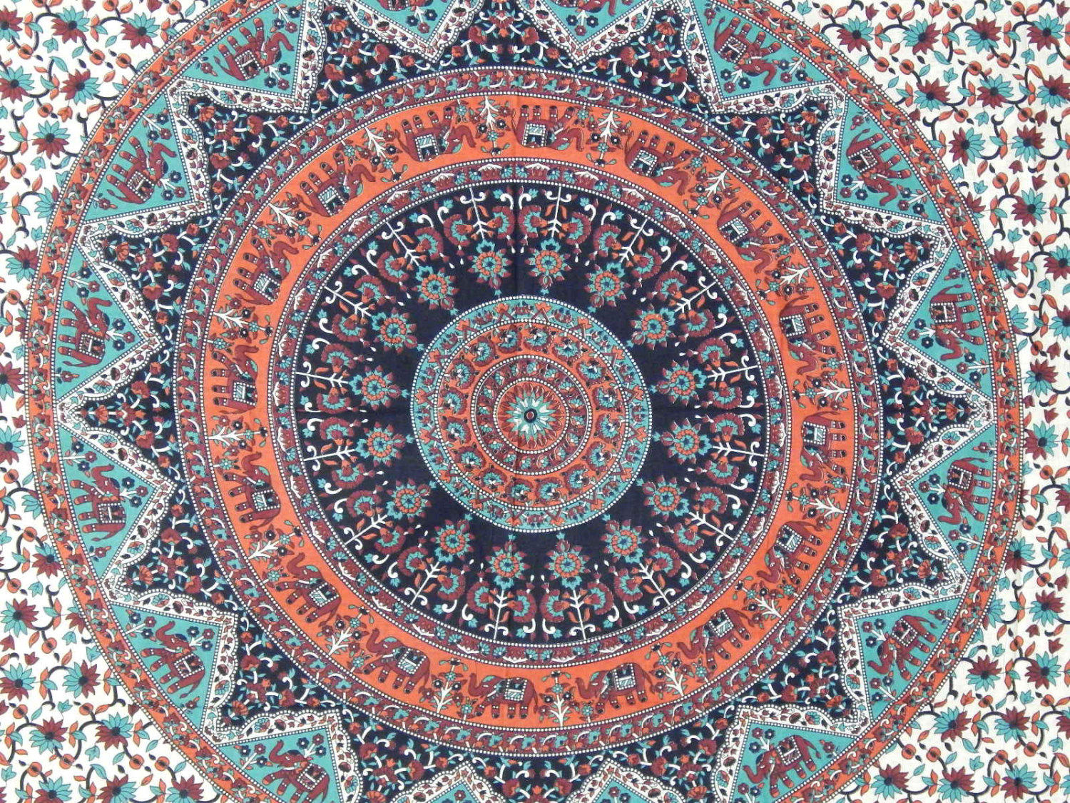 web elephant products medallion tapestry turquoise soulmakes by