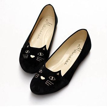 Women Black Cat Loafers velvet Embroidery Handmade Shoes Canvas Shoes Slipony Slip On Flats Fishermen Linen Casual Espadrilles