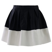 Color Block Faux Leather Skater Skirt Multi S
