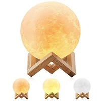 Moon Lamp, Magicfly 5.9 Inch 3D Printing Moon Light, Dimmable with Tap Control, Rechargeable Lunar Light Home Decorative Night Light for Creative Gift