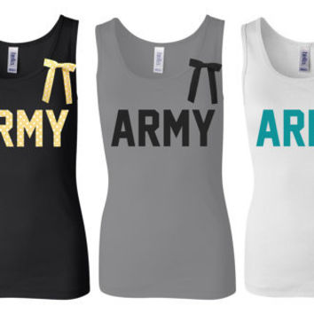 Army Tank Top Shirt, Military Army Wife, Fiance, Girlfriend, Workout Tank (women, teen girl)